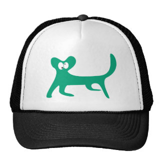 Cat Walking Sideways Green Topsy Turvey Eyes Cap