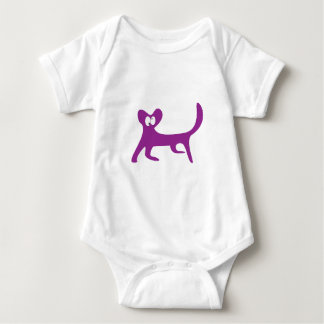 Cat Walking Sideways Purple Topsy Turvey Eyes Baby Bodysuit