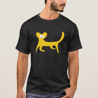 Cat Walking Sideways Yellow Topsy Turvey Eyes T-Shirt
