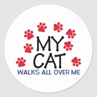 Cat Walks Paws Round Sticker