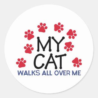 Cat Walks Paws Round Sticker