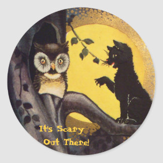 Cat Warning Owl Halloween Stickers