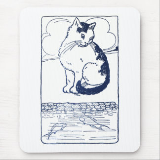 Cat Watching Fish in Pond Mouse Pad