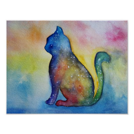 Cat Watercolor Art, Value Poster Paper (M