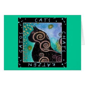 Cat watercolor card