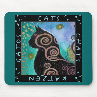 Cat watercolor mouse pad