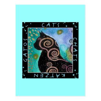 Cat watercolor postcard