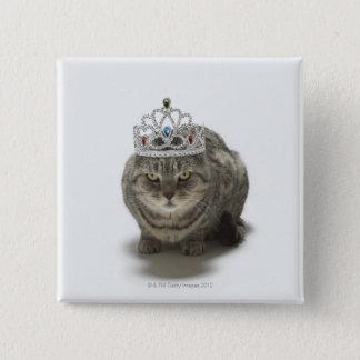 Cat wearing a tiara 15 cm square badge