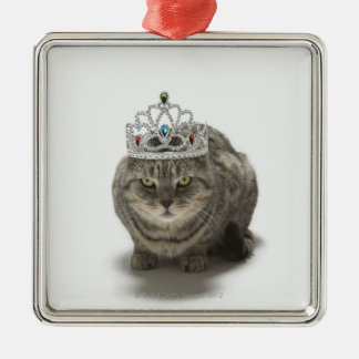 Cat wearing a tiara christmas ornament