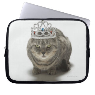 Cat wearing a tiara laptop sleeve