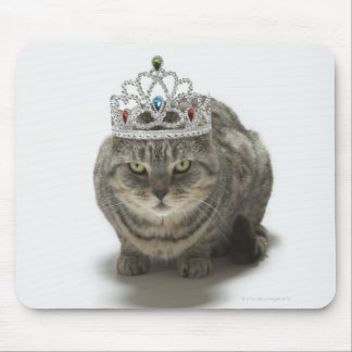 Cat wearing a tiara mouse pad