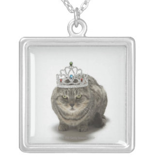 Cat wearing a tiara silver plated necklace
