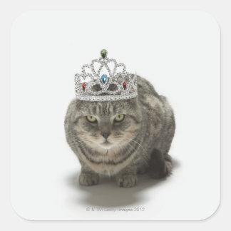 Cat wearing a tiara square sticker
