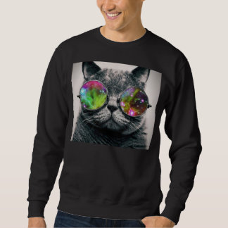cat wearing aviator sunglasses sweatshirt