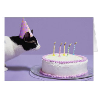 Cat wearing birthday hat blowing out candles card