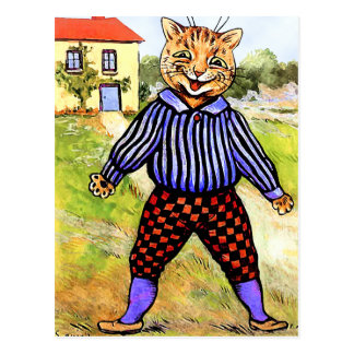 Cat Wearing Breeches by Louis Wain Postcard