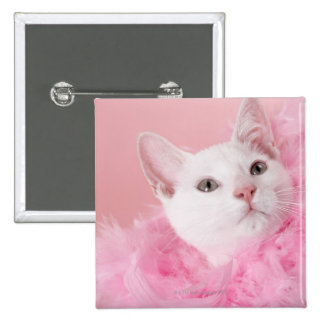Cat wearing feather boa 15 cm square badge