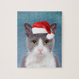 Cat wearing Santa Hat Christmas Portrait Jigsaw Puzzle