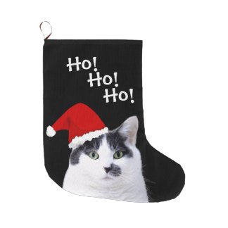 Cat Wearing Santa Hat Large Christmas Stocking