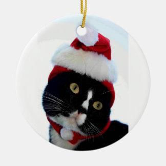 Cat wearing santa hat photograph, BW kitty Christmas Ornament