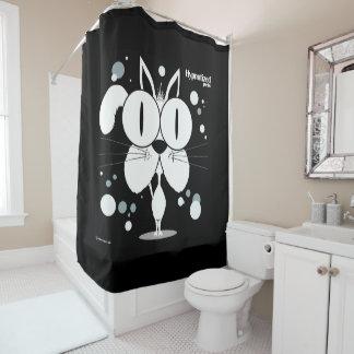 Cat (White, Black Bg) Shower Curtain