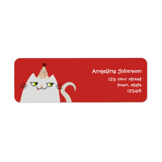Cat White Cute Fat Cartoon Funny Party Modern Cool