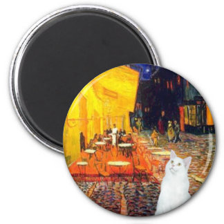 Cat (white SH) - Terrace Cafe 6 Cm Round Magnet