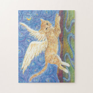 Cat Wings Starry Night Blue Sky 11x14 Puzzle