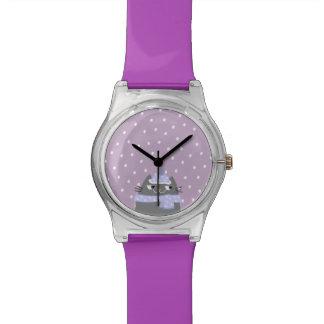 Cat Winter Snow Cartoon Cute Stylish Purple Chic Watch