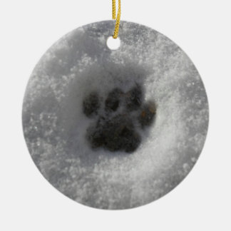 Cat Winter Snowy Pawprint Ornament