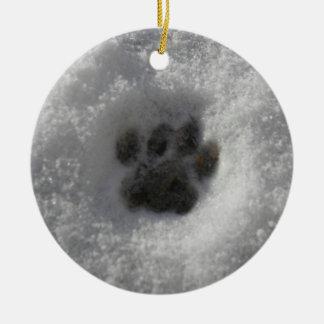 Cat Winter Snowy Pawprint Ornament