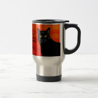Cat Wisdom On Halloween Stainless Steel Travel Mug