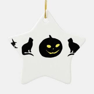 Cat Witch and Pumpkin Black Shadow Christmas Ornament