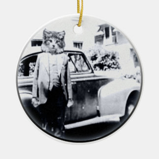 Cat With A car Christmas Ornament