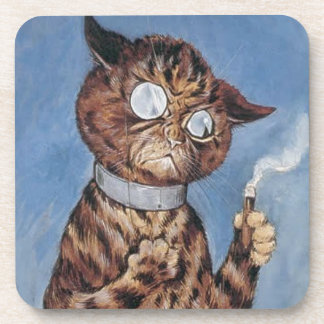 Cat With A Cigar Drink Coaster
