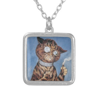 Cat With A Cigar Square Pendant Necklace