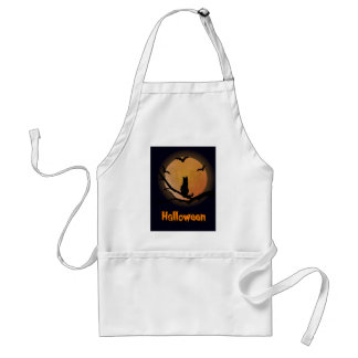 Cat with a full moon Halloween Adult Apron