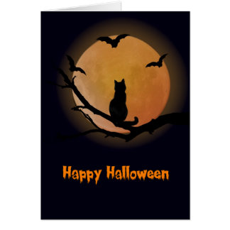 Cat with a full moon Halloween Greeting Card