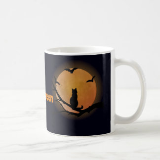 Cat with a full moon Halloween Basic White Mug