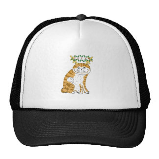 cat with antlers and holly trucker hats
