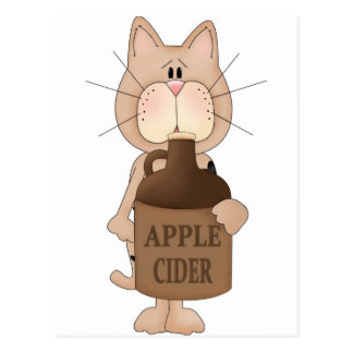 Cat with Apple cider Post Cards