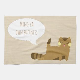 Cat with attitude tea towel