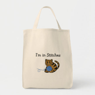 Cat with Ball of Yarn and Saying Grocery Tote Bag