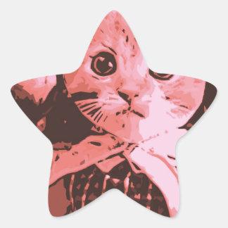 Cat with ball star sticker
