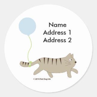 Cat with Balloon Address Label Round Sticker