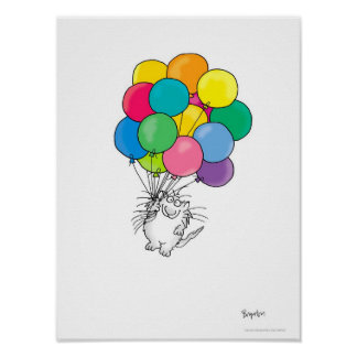 CAT WITH BALLOONS poster by Sandra Boynton