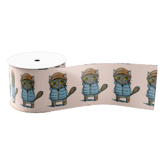 Cat with Beanie and Down Vest Watercolor Grosgrain Ribbon