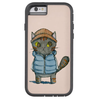 Cat with Beanie and Down Vest Watercolor Tough Xtreme iPhone 6 Case