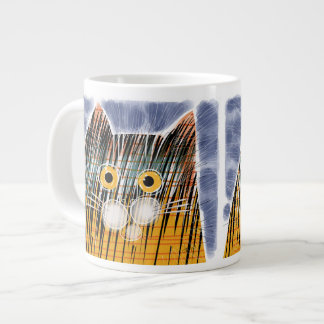 Cat with big yellow eyes jumbo mug