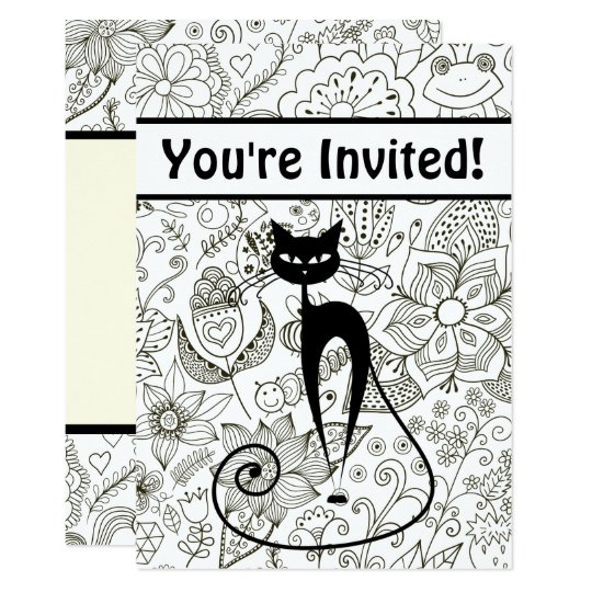 Cat with Black and White Garden Birthday Invite